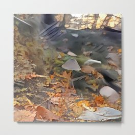 Painted Mycena in Forest Metal Print