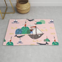 Pirates Ahoy Pink Rug