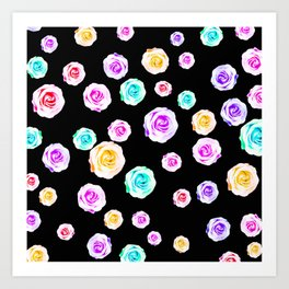 colorful roses in pink purple green yellow with black background Art Print