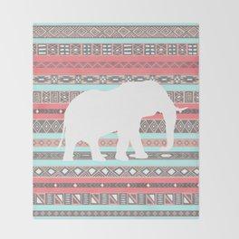 Elephant Aztec Pattern Pastel Peach Aqua Print Throw Blanket