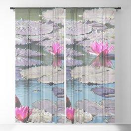 Water lilies Sheer Curtain