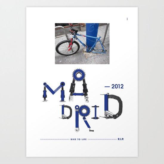Bike to Life - Madrid Art Print