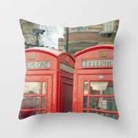 telephone Throw Pillows featuring Telephone by The Last Sparrow