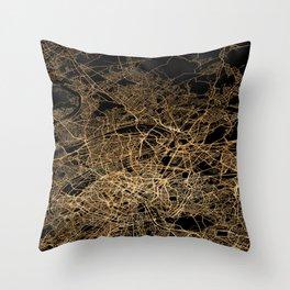 Paris map lights Throw Pillow