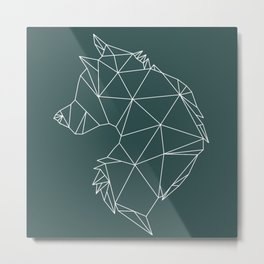 Geometric Wolf (White on Slate) Metal Print