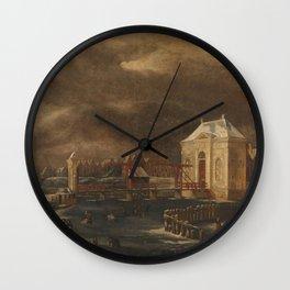 The Heiligewegspoort, Amsterdam, in Winter, Jan van Kessel (1641-1680), 1660 - 1680 Wall Clock