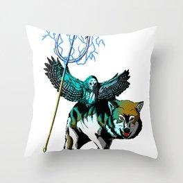 OWL WOLF ALLIANCE 2  Throw Pillow