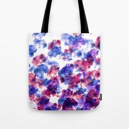fingerprints on white paper, blue, red, purple shades. Tote Bag