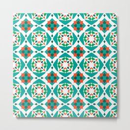 Elva (Prime- teal, red, green, white) Metal Print
