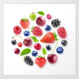 Fresh berries in a circle Art Print