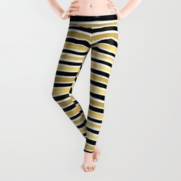 Black and white gold stripes modern brushstrokes minimal art print abstract painting gold foil Leggings