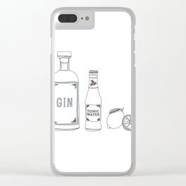 Gin tonic and lime illustration Clear iPhone Case