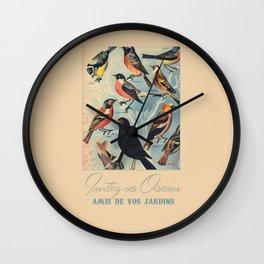 French Birds Wall Clock