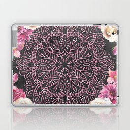 Mandala Night Rose Gold Garden Pink Black Yellow Laptop & iPad Skin
