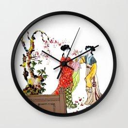 Japanese Garden Geisha Girls Wall Clock