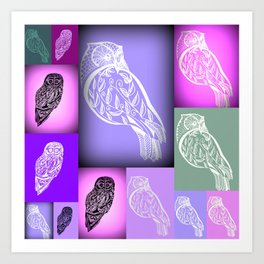 purple owls with pink and green Art Print