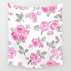 Pink watercolor roses pattern Wall Tapestry