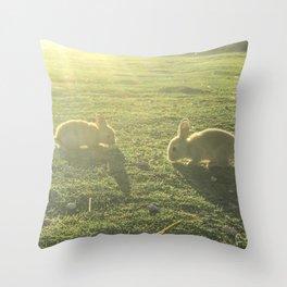 Bunny // Cute Nursery Photograph Adorable Baby Bunnies in the Field Throw Pillow