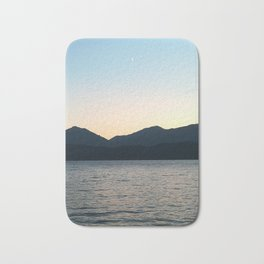 Sunset and Crescent Moon over the Water Bath Mat