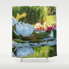Water Water Lilies on Summer Pond Shower Curtain
