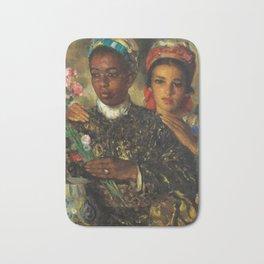 "African American Masterpiece ""Women Arranging a Bouquet of Flowers' by Jose Cruz Herrera Bath Mat"