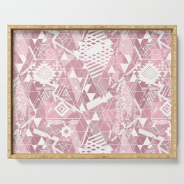 Abstract ethnic pattern in dusky pink, white colors. Serving Tray