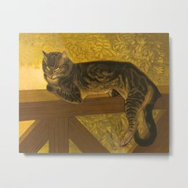 Summer Cat on Balustrade Vintage Cat Portrait Metal Print