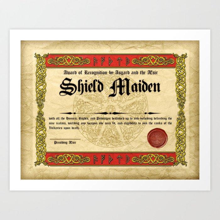 Shield Maiden Certificate Art Print