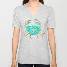 Crab – Turquoise & Gold Unisex V-Neck