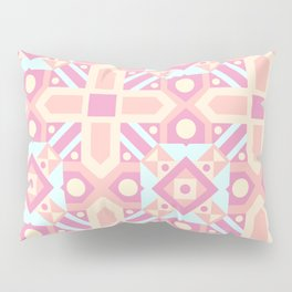 Pink teal yellow ethnic moroccan motif pattern Pillow Sham