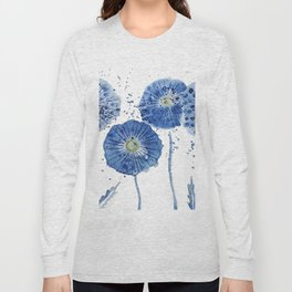 four blue dandelions watercolor Long Sleeve T-shirt