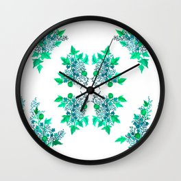 Blue Coralline Flowers Wall Clock