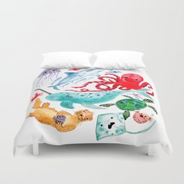 Ocean Creatures - Sea Animals Characters - Watercolor Duvet Cover
