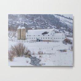 White Barn in Utah Mountains Metal Print
