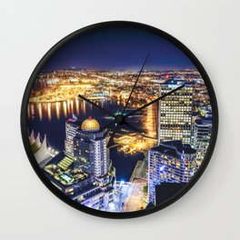 1719 Voyeuristic Vancouver Cityscape Space Craft - Waterfront Convention Center Gastown BC Canada Wall Clock