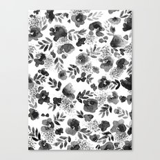 Floret Black and White Canvas Print