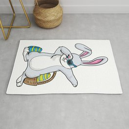 Bunny with Sunglasses and Egg at Hip Hop Dance Dab Rug