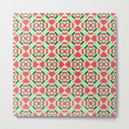 Simple geometric stripe flower red and green Metal Print