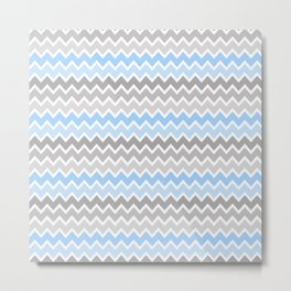 Grey Gray Blue Ombre Chevron Metal Print