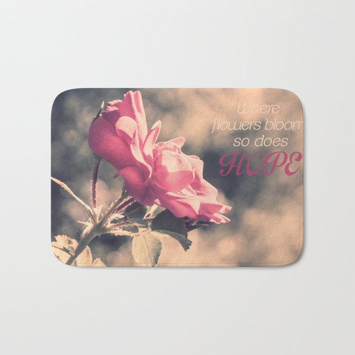Hope (Hibiscus Pink Rose with Inspirational Quote) Bath Mat