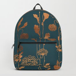 Art Deco Copper Flowers  Backpack