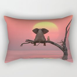elephant and dog are sitting on a tree at sunset Rectangular Pillow