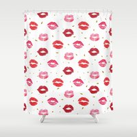 lip Shower Curtains featuring Red Lip Pattern by MiniMe