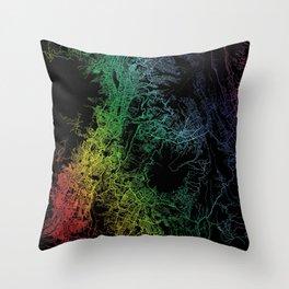 Quito, Equador, City, Map, Rainbow, Map, Art, Print Throw Pillow
