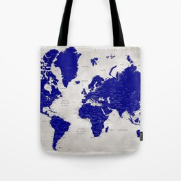 """Navy blue and grey detailed world map, """"Delaney"""" Tote Bag"""