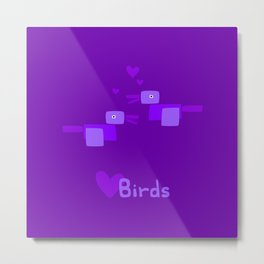 Love Birds-Purple Metal Print