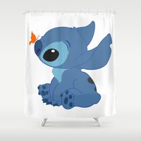 stitch Shower Curtains featuring Stitch by Alexbookpages