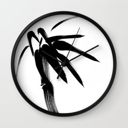Japanese black & white brush painting - Zen bamboo Wall Clock