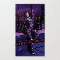 nan lawson Canvas Prints featuring Mass Effect - Miranda Lawson by Amber Hague
