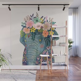 Elephant with flowers on head Wall Mural